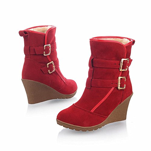 Short Boots Concise Wedges Casual Heel Carol Biker Shoes Women's High Red Buckles wSvqw8ax