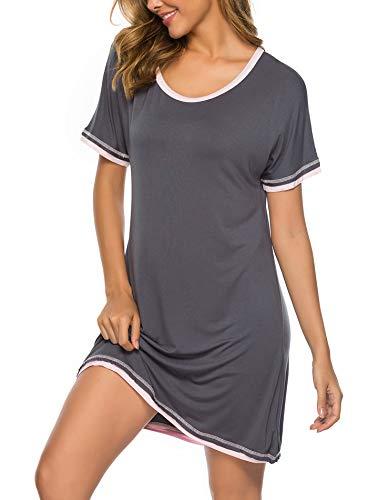 (Twinklady Sleepwear Women Nightgown Cotton Sleepshirts V Neck Nightdress Short Sleeve Nightshirts DGR XXL Dark Grey)