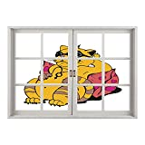 SCOCICI Removable 3D Windows Frame Wall Mural Stickers/Funny,Fat Tomcat with Glasses Lying on A Cushion Relaxing Lazy Kitty Pets Pillow Cartoon,Apricot Pink/Wall Sticker Mural