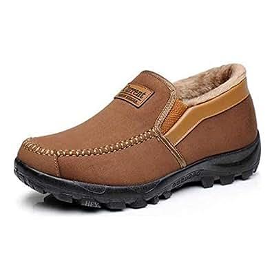 Amazon.com | Men's Snow Boots Moccasins Slippers Plush