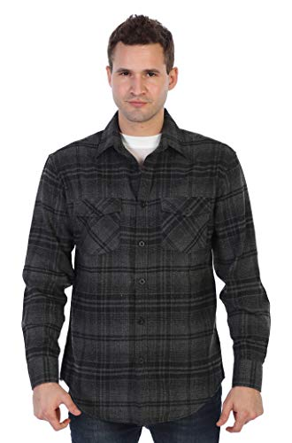 Brushed Flannel Shirt - Gioberti Men's Plaid Checkered Brushed Flannel Shirt, Charcoal/Thick Black Plaid, Medium