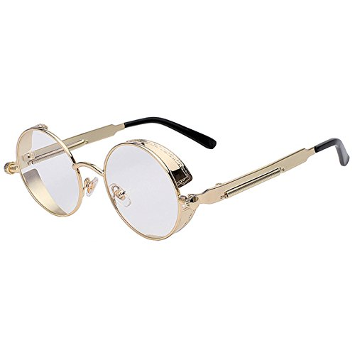 Steampunk Retro Gothic Vintage Hippie Gold Metal Round Circle Frame Sunglasses Clear Lens - Frame Round Sunglasses Clear