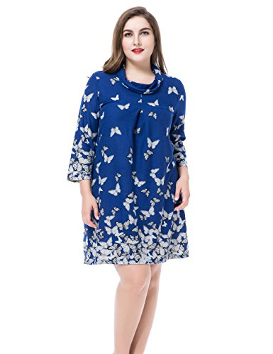 Chicwe Womens Cashmere Touch Plus Size Butterfly Printed Dress Cowl Neck US12-28