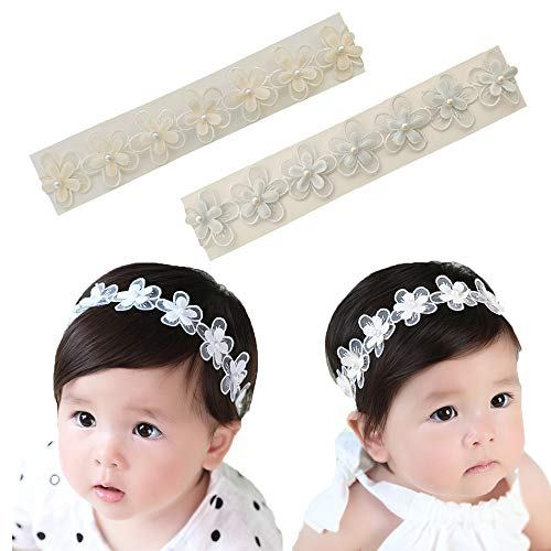Baby Toddler Elastic Chiffon Flower Headbands Princess Girls Hand Sewing Beads Flower Headwear Nylon (Multicoloured HXT522) -