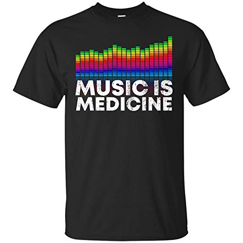 Music is Medicine Equalizer DJ T Shirts Musical Quotes Gift Tee (Unisex -