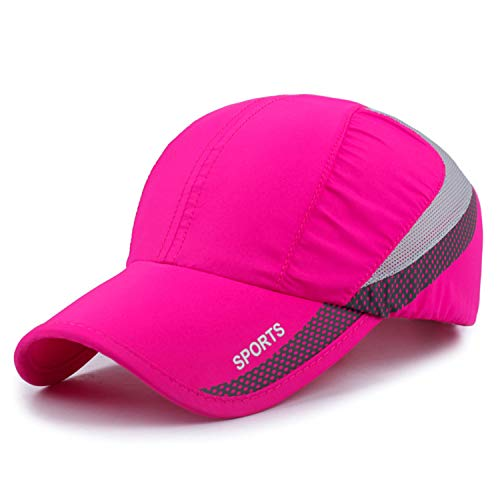 - Quick Drying Lightweight Baseball Cap Outdoor Airy Mesh UV Protection Sun Hats (A033-rose)
