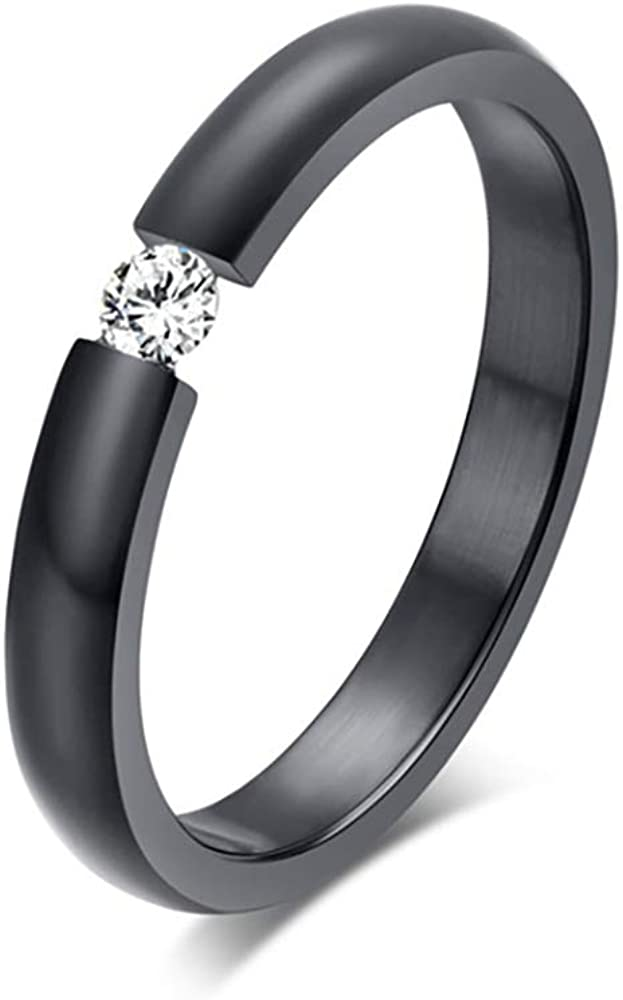 Ginger Lyne Collection Black Plated Stainless Steel 3.5mm Single Crystal Wedding Band Ring