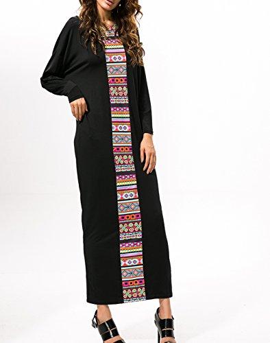 Weiblich Mode Spleißen Europäischen Und Amerikanischen Stil Neue Mode Fledermäuse lose Lange Ärmel Kleid Kleid Rock