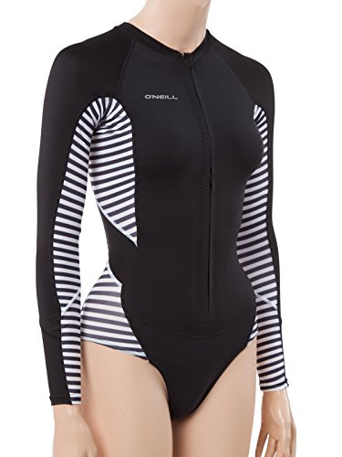 O'Neill Wetsuits Womens Superlite Hi Cut Long Sleeve Spring Wetsuit, Black/Riostripe/Black, Size 14 (Oneill Black Spring Wetsuit)