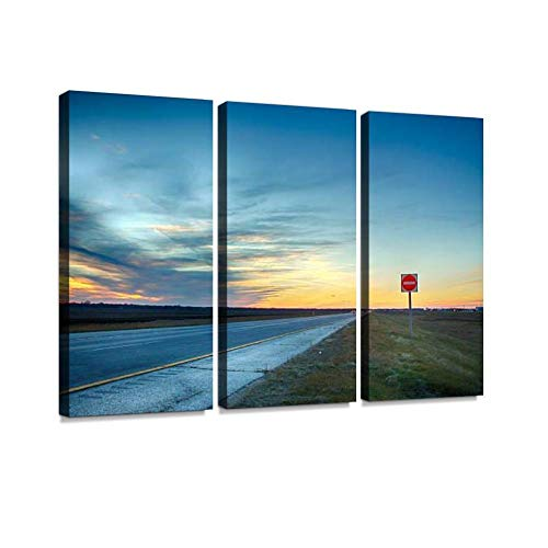 Nightfall Print On Canvas Wall Artwork Modern Photography Home Decor Unique Pattern Stretched and Framed 3 Piece (Manitoba Winter Scenes Winnipeg Canada)
