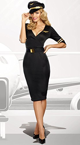 Classy Mens Halloween Costumes (Dreamgirl Women's Flight Captain, black,)