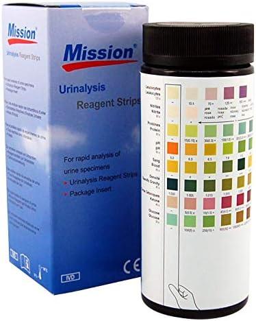 100 tiras de examen de orina Mission, test profesional de calidad con certificado CE para 8 parámetros