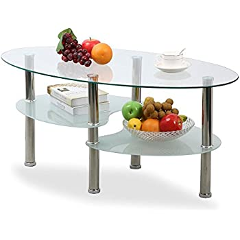 Amazon.com: Yaheetech Living Room Modern Glass Top Coffee Tables ...