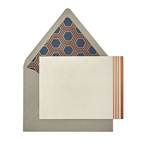 Hallmark Signature Gold Blank Cards, Rose Gold Stripe (10 Cards with Envelopes) ()