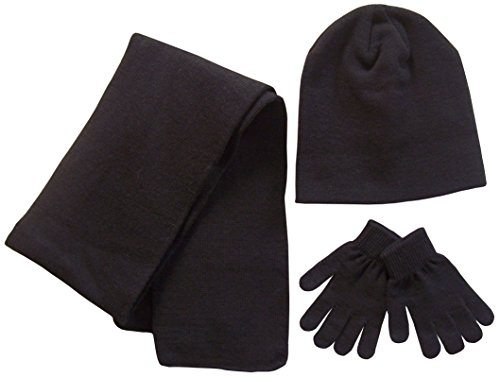 Hat Winter Reversible Knit - N'Ice Caps Adults Unisex Reversible Knit Hat/Scarf/Touchscreen Glove Set (One Size, Black)