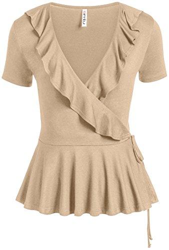 - Simlu Womens Khaki Short Sleedve V Neck Bandage Self Tie Wrap Slim Fit Ruffle Top,XXX-Large