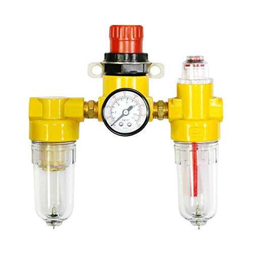 "Air Compressor Filter, Gauge Regulator, Oiler. Mini Three Unit Combo Compressed Air 1/4"" NPT with Manual Drain Valve. (AS221) Air Tool Accessories by (4 Port Air Manifold)"