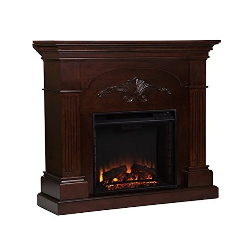 Brown Mahogany Electric Fireplace (Upton Home Gilbert Mahogany Modern Electric Fireplace)