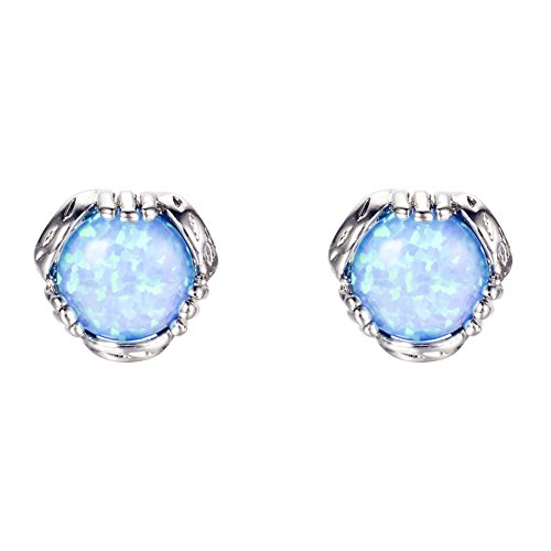 Bamos Jewelry 7.6MM White Gold Blue Fire Opal Best Friend Wedding Earrings Studs for Womens and Girls