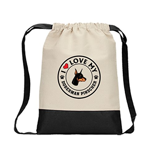 Canvas Drawstring Contrast Bag I Love My Doberman Pinscher Dog Style 1 Black