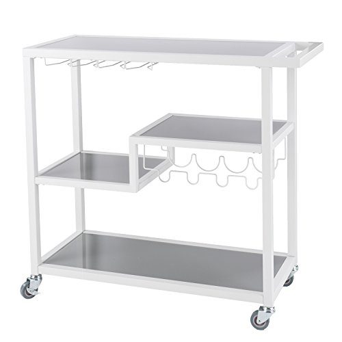 (Southern Enterprises Zephs Rolling Bar Cart - Locking Castor Wheels - Smoky Gray Finish w/White Tempered Glass)