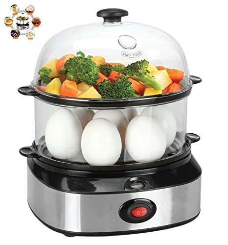 Electric Egg Cooker, PYRUS Egg Boiler for up to 7 Eggs With Poacher and Steamer