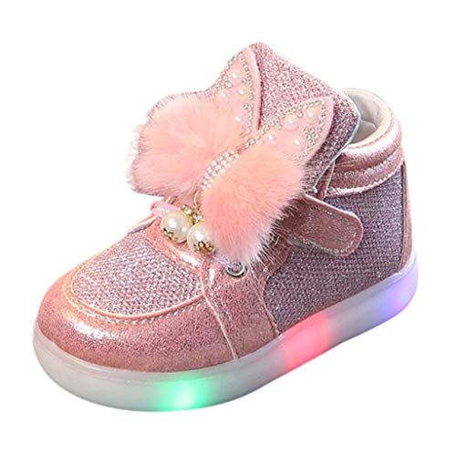 Tantisy ♣↭♣ Toddler Little White Rabbit LED Luminous Sport Shoes/Pearl Sequin Decoration/Lovely Sneakers for Baby Girls