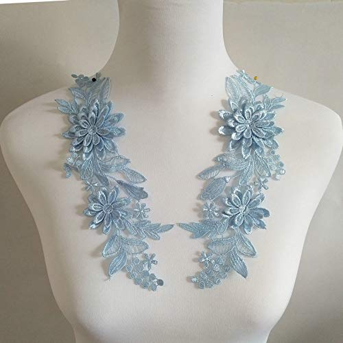 Light Blue 1 Pairs of Three-Dimensional Flowers Embroidered Water-Soluble Lace on Flower DIY Wedding Dress Headwear Accessories