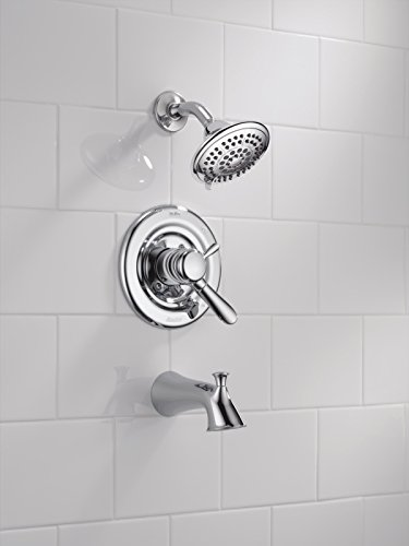Delta T17438 Lahara 17 Series Dual-Function Tub and Shower Trim Kit with 5-Spray Touch Clean Shower Head, Chrome (Valve Not Included)
