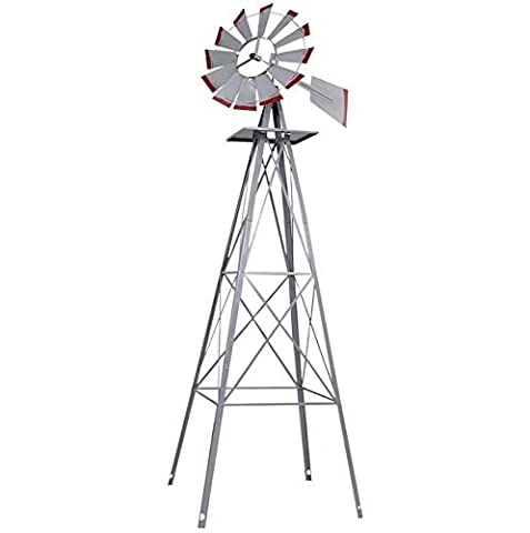 8FT Ornamental Windmill Tall Windspinner Steel Structure Silver Gray And Red Wind Wheel Outdoor Patio Garden Yard Décor Weather Vane Durable Wind Spinner Wheel Turns Quietly And - Lords Prayer Craft