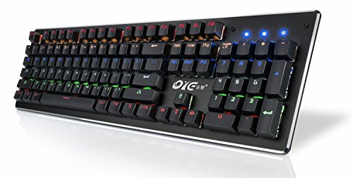 Gaming Keyboard, Water-Resistant Mechanical Keyboard with Audible Retro Mechanical Click Sounds, Multicolor Backlit and Many Brightness and Backlight Settings and Game Modes, 104 Non-conflicting Keys