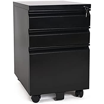 3 Drawer Metal Black File Cabinet With Lock (15.7
