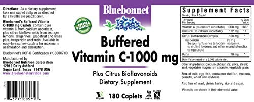 BlueBonnet Buffered Vitamin C 1000 mg Caplets, 180 Count
