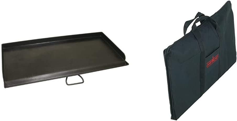 Camp Chef, SG60 Professional True Seasoned Steel Griddle Covers Two Burners with Handle, Fits Most 14