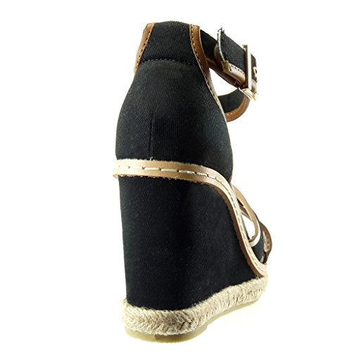 Angkorly - Scarpe da Moda sandali Espadrillas bi-materiale zeppe donna finitura cuciture impunture Tacco zeppa piattaforma 10 CM - Nero