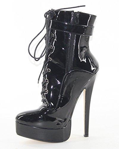 WONDERHEEL stiletto Schwarz Lackleder fetisch Plateau Kurzschaft stiefel