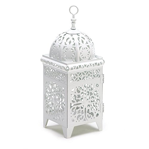 Scrollwork Cage (White Floral Filigree Metal Scrollwork Birdcage Candle Lantern Tea Light Votive)