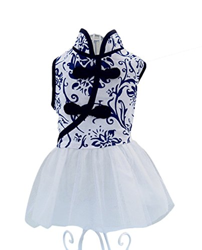 Uniquorn Blue-and-White Cheongsam Organza Pet Dog Dress Clothes 2XL (Home Made Dog Costume)
