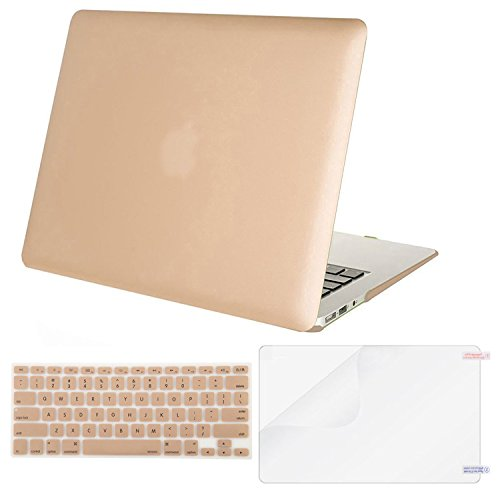 MOSISO Plastic Hard Case & Keyboard Cover & Screen Protector Only Compatible MacBook Air 13 Inch (Models: A1369 & A1466), Not Compatible 2018 Version A1932 with Retina Display, Gold