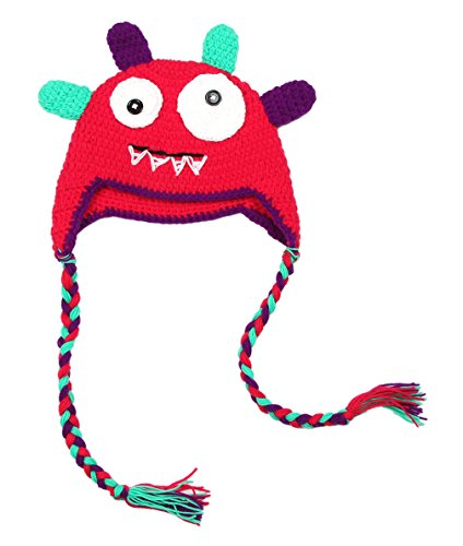 la-vogue-infant-boys-girls-monster-beanie-knitted-hat-cap-with-ear-flap-red