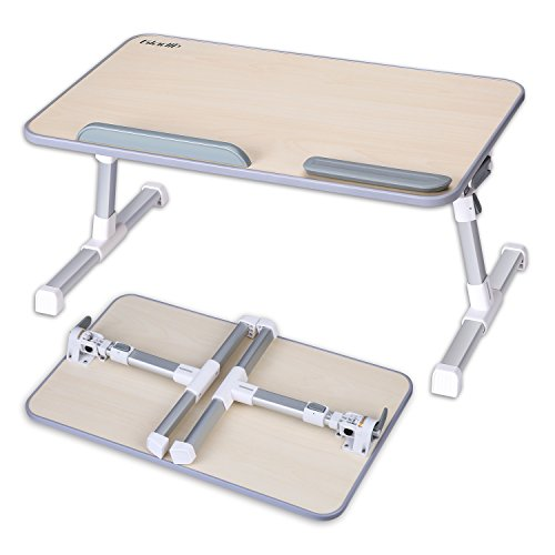 Adjustable Laptop Table, Portable Standing Bed Desk, Foldable Sofa Breakfast Tray, Notebook Stand Reading Holder for Bed, Office Work, Couch Floor Kids, Snacking, Gladle Relaxing (Breakfast Furniture Table)