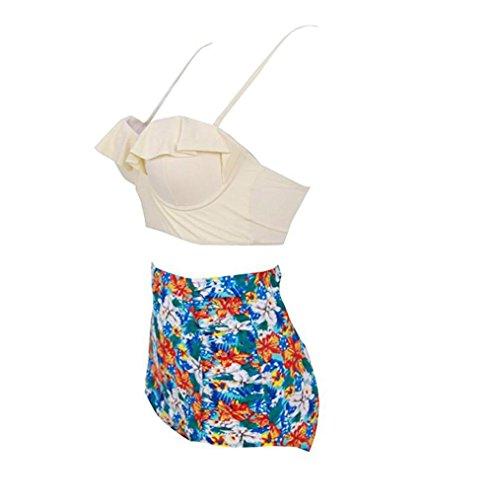 Mujeres Vintage Alta Cintura Bikini Floral Set Strappy Push Up Banador Traje De Bano white trousers