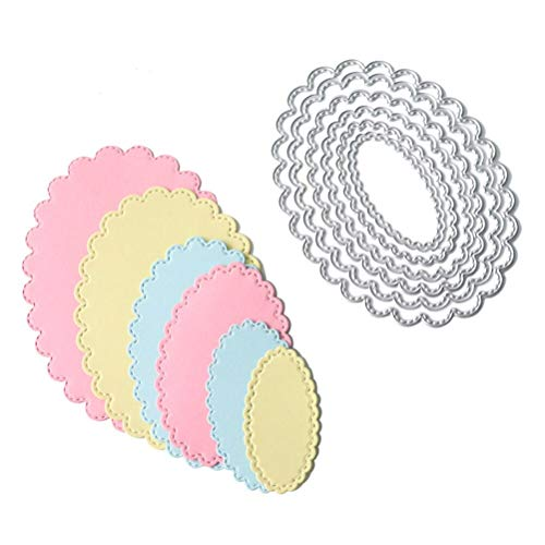 6Pcs/Set Oval Circle Scallop Frame Dies Cutting Decorative Steel Craft Die Cut Create Stamp Embossing Paper Card