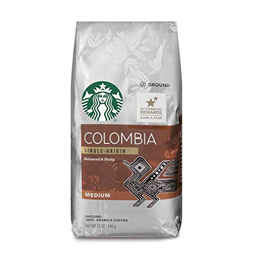 Starbucks Colombia Medium Roast Ground Coffee, 12-Ounce Bag (Pack of 6)