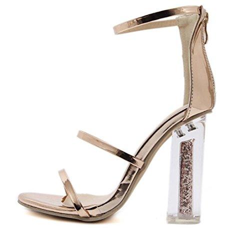 Clair Talon Chunky Gold Toe LINYI Haut Ouverte Femmes Dames Sandales Classique Cristal Talon RORq64x