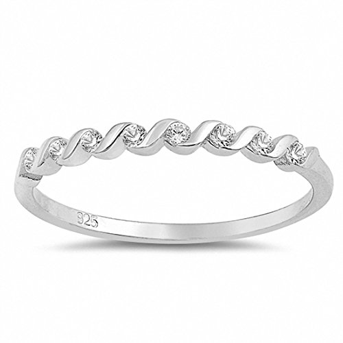 Bezel Band Half Eternity (2mm Half Eternity Twisted Design Wedding Band Ring Round Simulated CZ 925 Sterling Silver, Size-6)