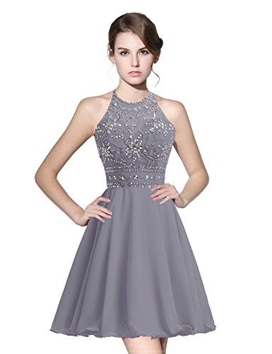 anmor Juniors Short Homecoming Dresses Beaded Bodice Chiffon Cocktail Prom Gowns Gray US8