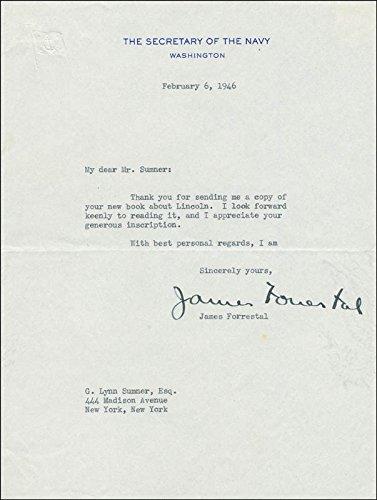 James Forrestal Typed Letter Signed 02/06/1946