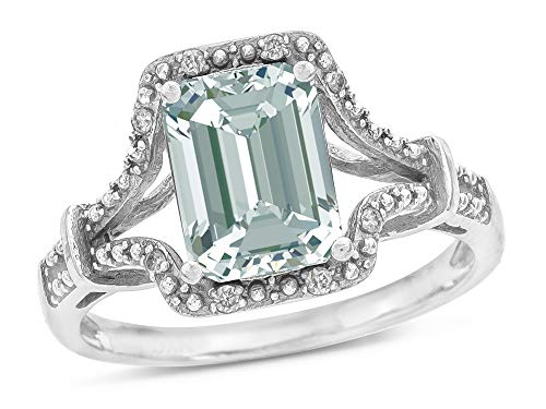 Star K 10k White Gold Octagon Emerald Cut 8×6 Vintage Antique Look Split Shank Ring