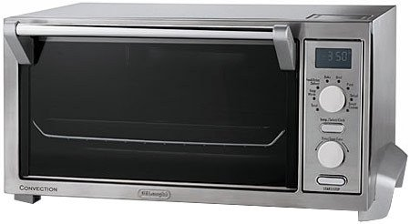 DeLonghi Digital Convection Oven and Toaster Features Convection Cooking of 30-40% Faster, and Extra Large Durastone ll Interior, with 8 Pizza Settings, has Digital Controls Automatic Shutoff and a LCD Display, with a Two Hour Digital Timer and Smart Cookie Function, Includes a Broil Pan and 2 Wire Racks with BONUS Dehydration Kit